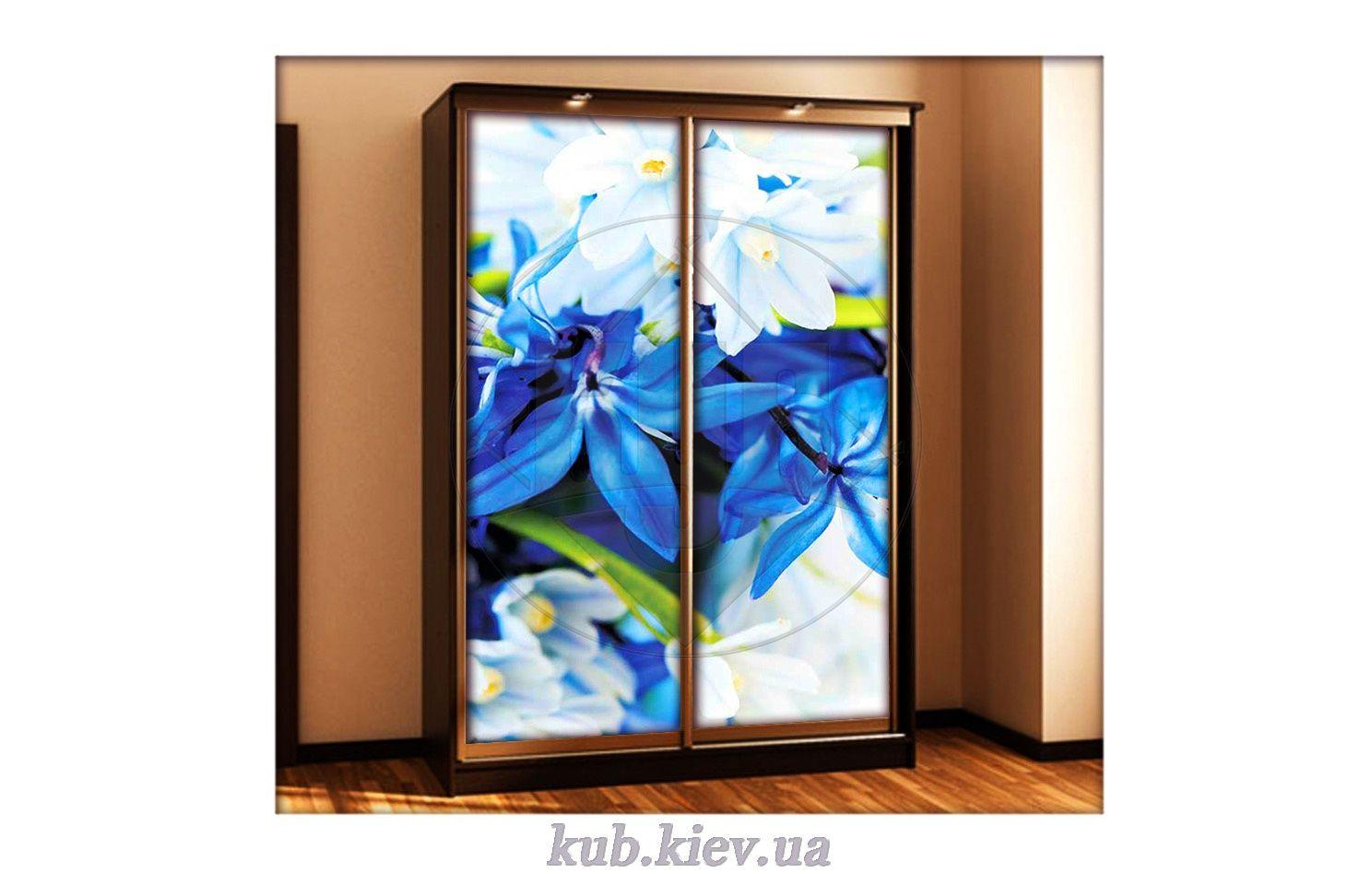 фотопечать для шкафа купе весенние нежно синие цветы мебель