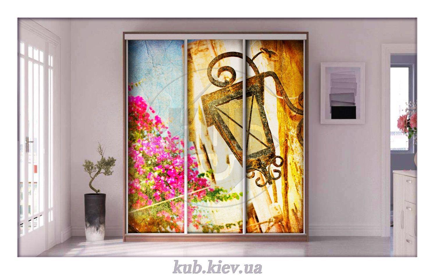 фотопечать для шкафа купе старинный фонарь и цветы дом
